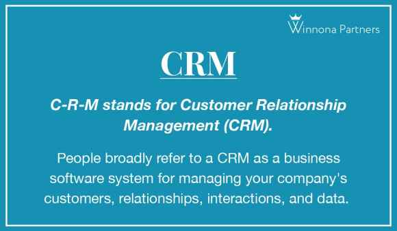 Definition of CRM - Customer Relationship Management.
