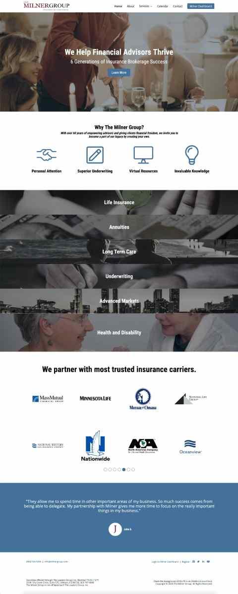 The Milner Group Website 2020 developed by Winnona Partners