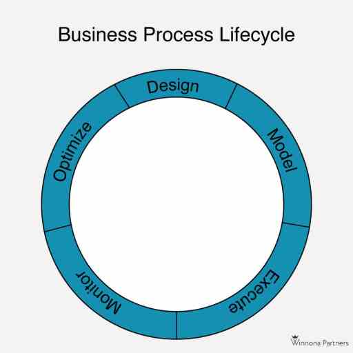 5 Stages of the Business Process Lifecycle: Design, model, execute, monitor, optimize
