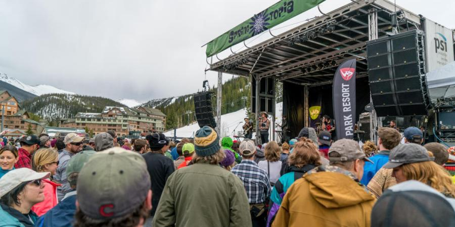 View of the Spring Topia stage at the base of Winter Park Resort
