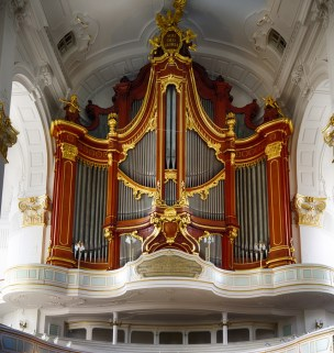 The large organ at St. Michael's Church in Hamburg - one of the five large Lutheran churches in the city.