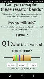 Free resistor values app with quiz
