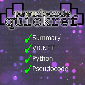 Pseudocode, Python, VB.NET Quick Reference