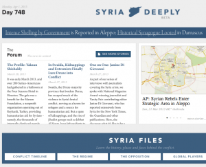 Syria Deeply combines news articles, maps, videos, original reporting and social media.
