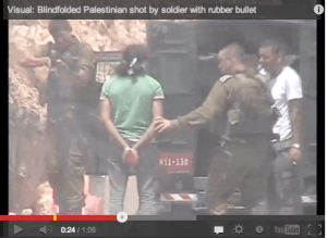 In July 2008 B'Tselem uncovered a video filmed by a young Palestinian woman from the village of Ni'lin. The video depicted a soldier firing a rubber coated metal bullet at a handcuffed and blindfolded Palestinian detainee from a short range, in the presence of a lt. Colonel.