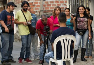 Residents of La Cascada participate in a video advocacy workshop.