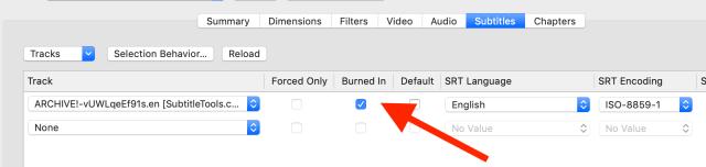 """Location of the """"burn in"""" checkbox in Handbrake"""