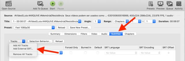 Location of the Subtitles tab in Handbrake