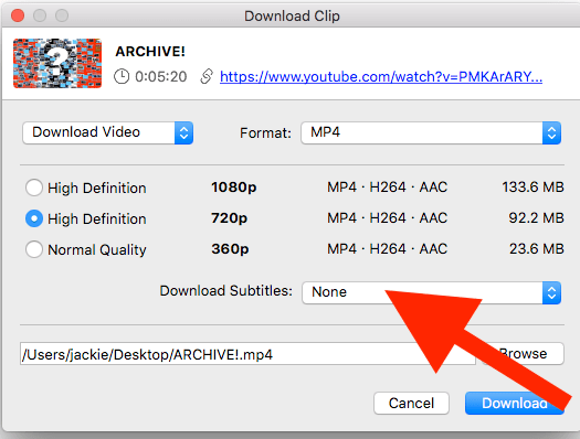 Location of the download subtitles menu in 4K Video Downloader