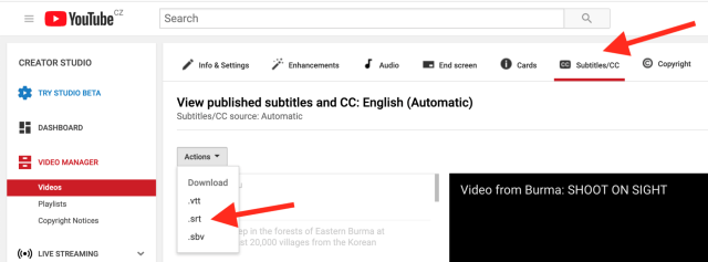 Location of the YouTube Studio subtitle download menu