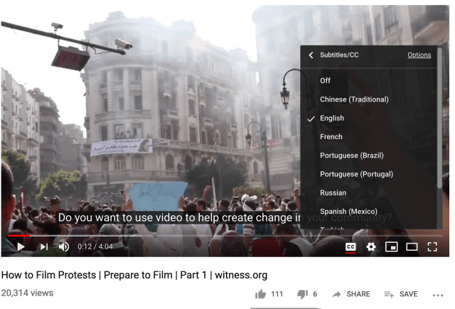 Subtitles available for a video in YouTube