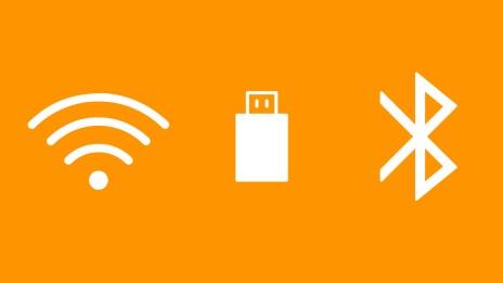Wifi, USB stick, Bluetooth icons
