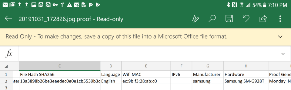 Excel document with Proofmode metadata