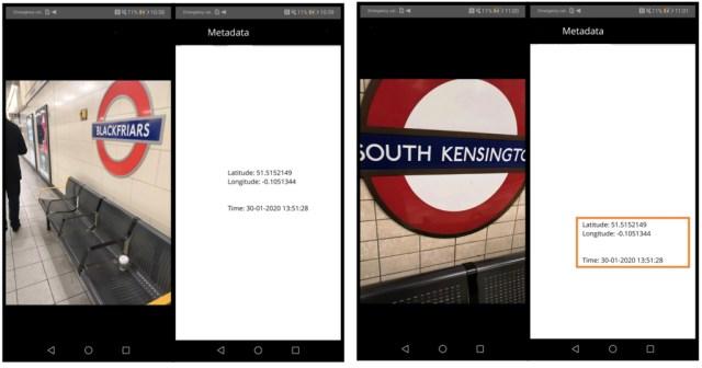 Two photos and their GPS metadata