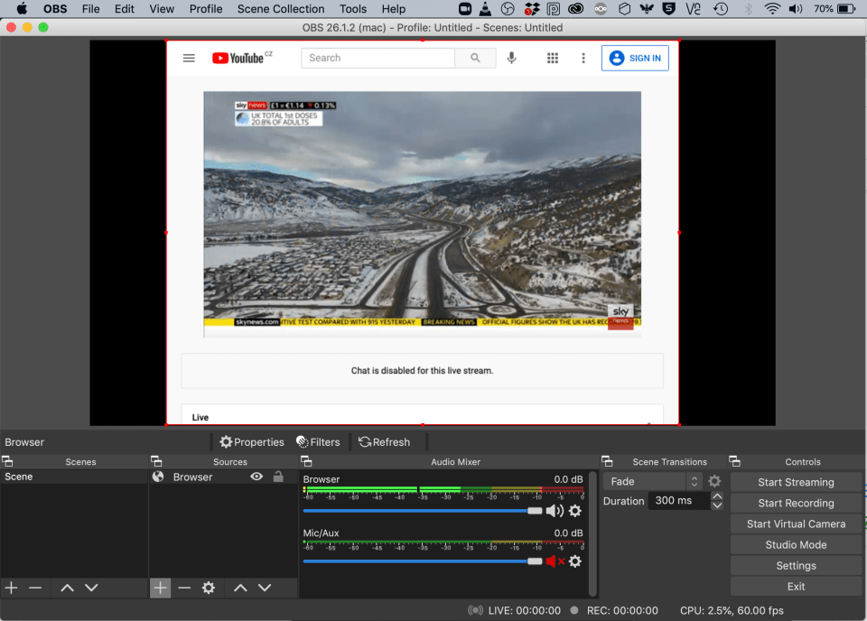 Screenshot of OBS studio while capturing browser feed