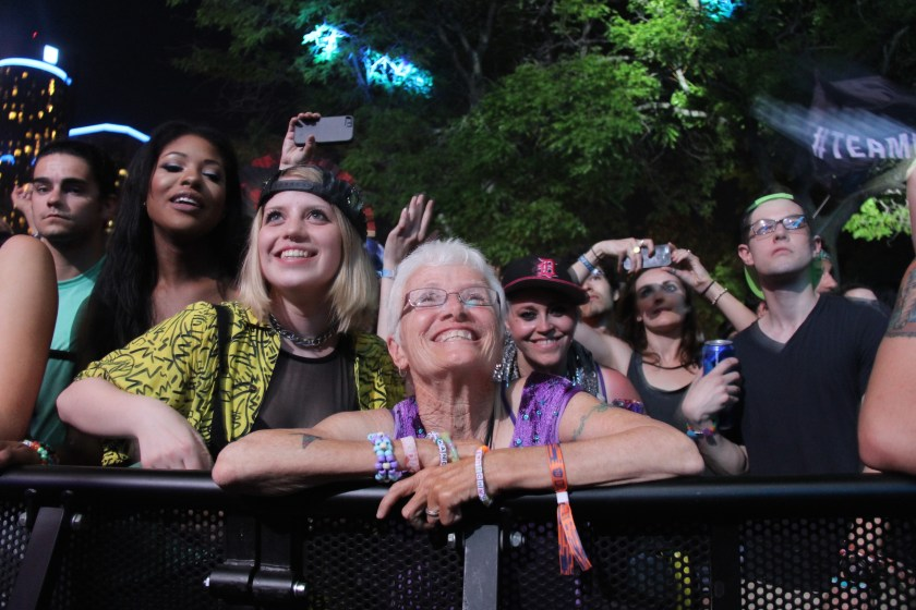 Patricia Lay-Dorsey, aka Grandma Techno, front and center for Get Real at the Red Bull Music Academy Stage