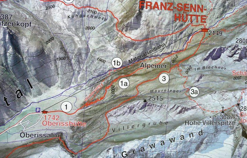 Karte Stubaital Oberriss