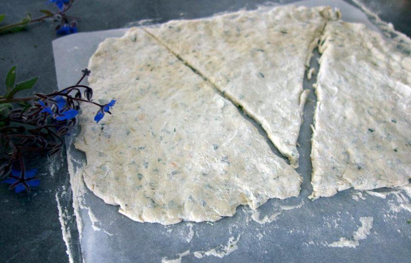 Fougasse: Teig unterteilen