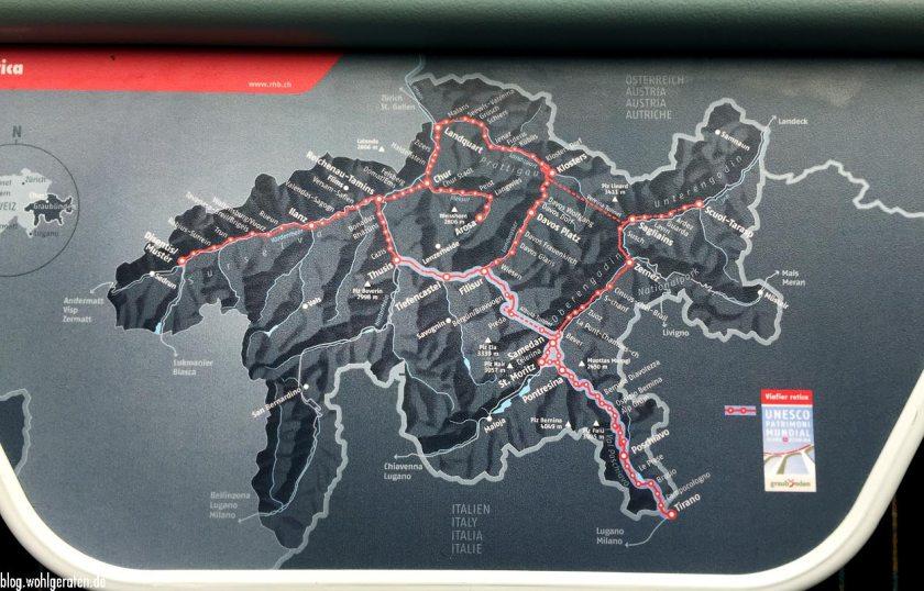Streckenplan im Zug