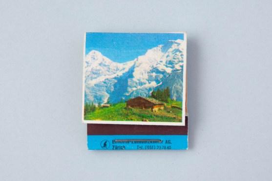 Streichholzbriefchen Alpen