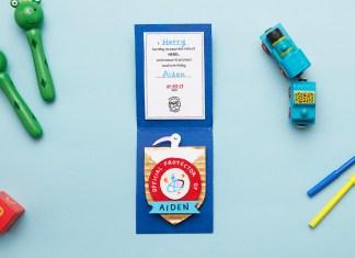 hero, badge, kids, sibling, newborn, craft, cardboard, diy