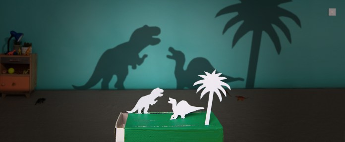 DIY, dinosaur, shadow, matchbox, puppets, kids