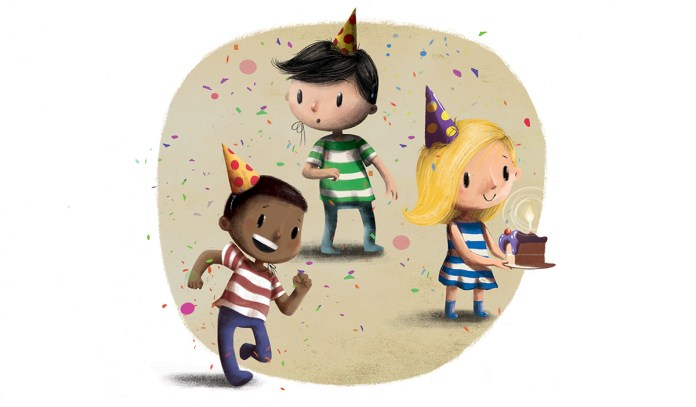cartoon children celebrating a birthday