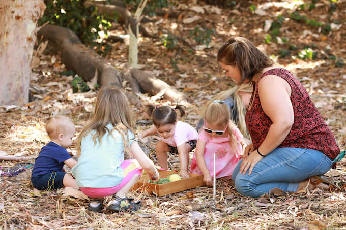Playing at Northeast LA Forest School