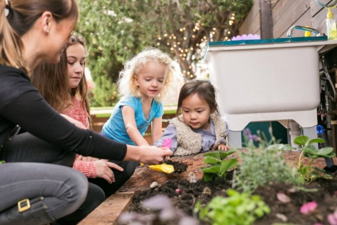 Planting outside at Little Nest family child care in LA
