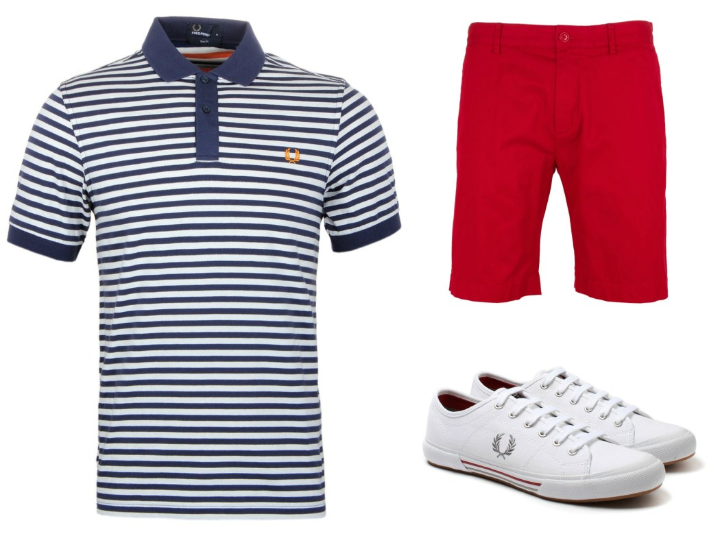 Red Shorts, Striped Polo, White Trainers