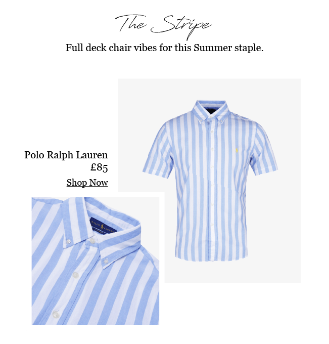 POLO RALPH LAUREN SHORT SLEEVE POPLIN SKY BLUE STRIPE SHIRT