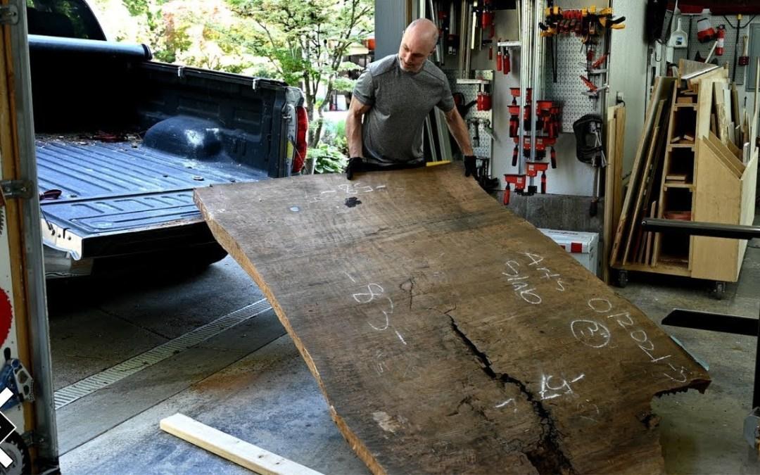 $9000 Wood Slab Desk -- One Man Woodworking Shop