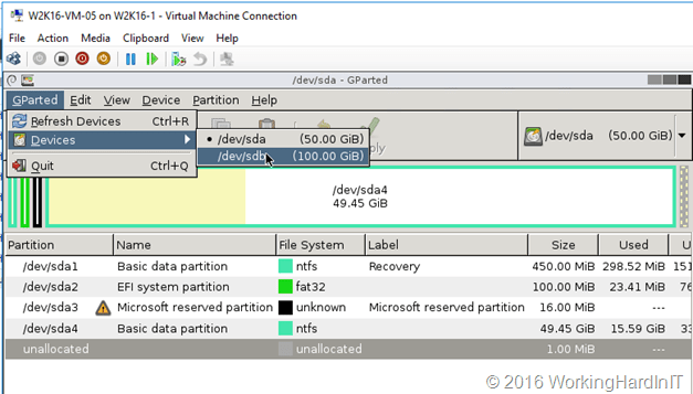 Fix virtual disk resizing issues with Gparted - Working Hard In