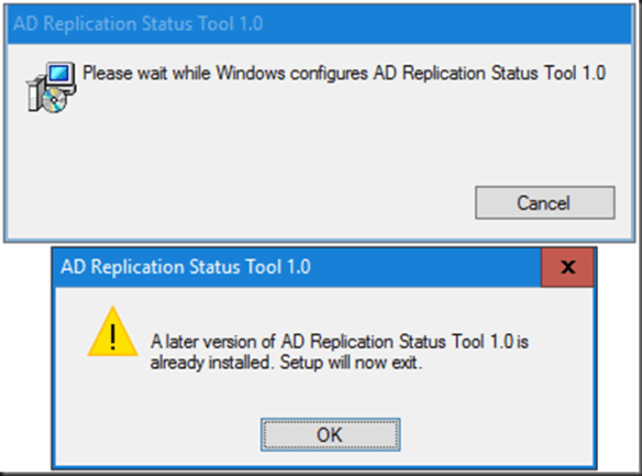 Microsoft Active Directory Replication Status Tool won't