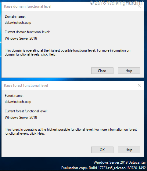 Forest and domain functional level to Windows Server 2019 - Working