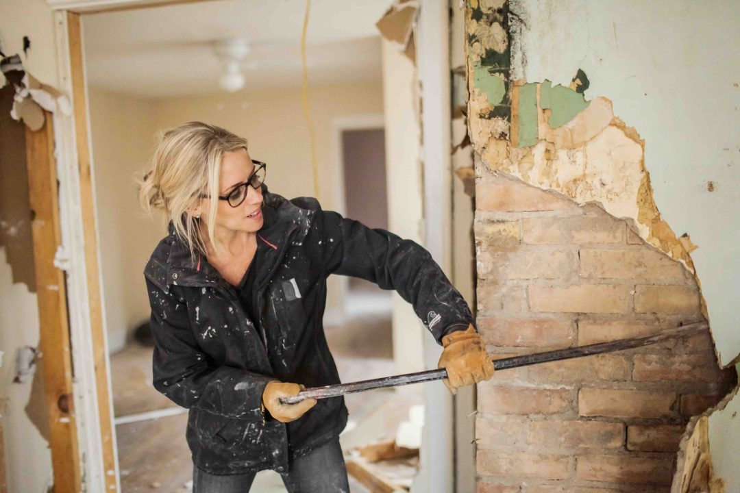 One of the first things that Nicole Curtis does when acquiring a new home is go searching the walls for brick. Nicole is seen her exploring her Hillside property for brick behind the walls, as seen on DIY Network's Rehab Addict.