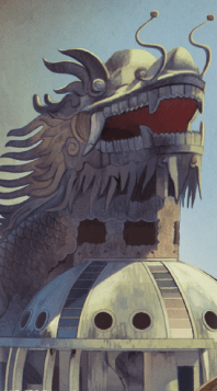 Dragon Head Statue over Building