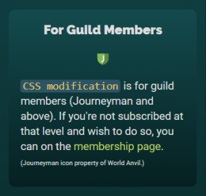 Statblock example showing the article is for all Guild Members