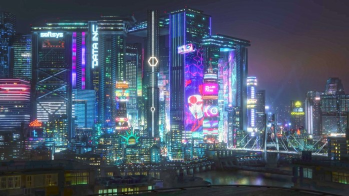 Night city from Cyberpunk 2077 is full of neon lights