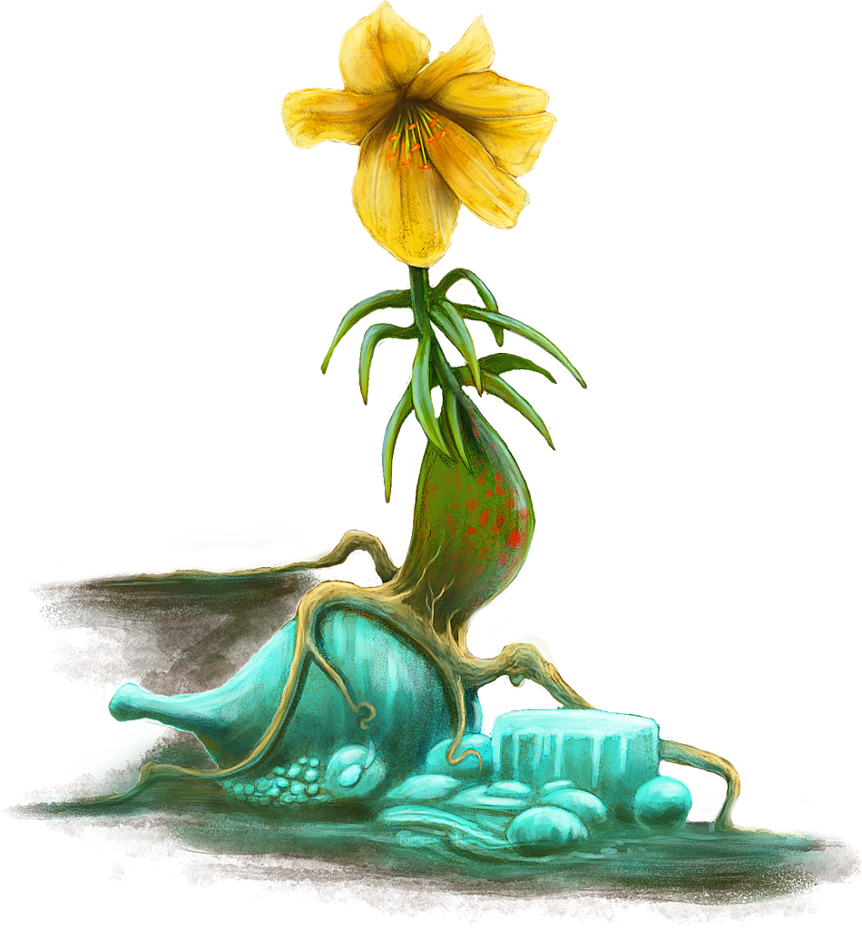 A yellow fantasy flower with roots showing the illusion of a feast