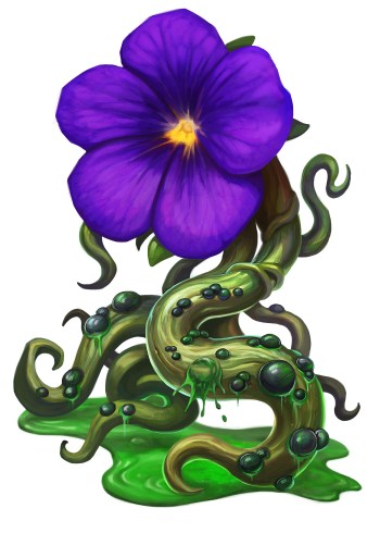 The Bulbous Violet - a fictional plant which disolves its prety in acid. A large purple flower with dripping vines.