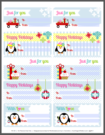 Holiday Labels Set With Penguins By