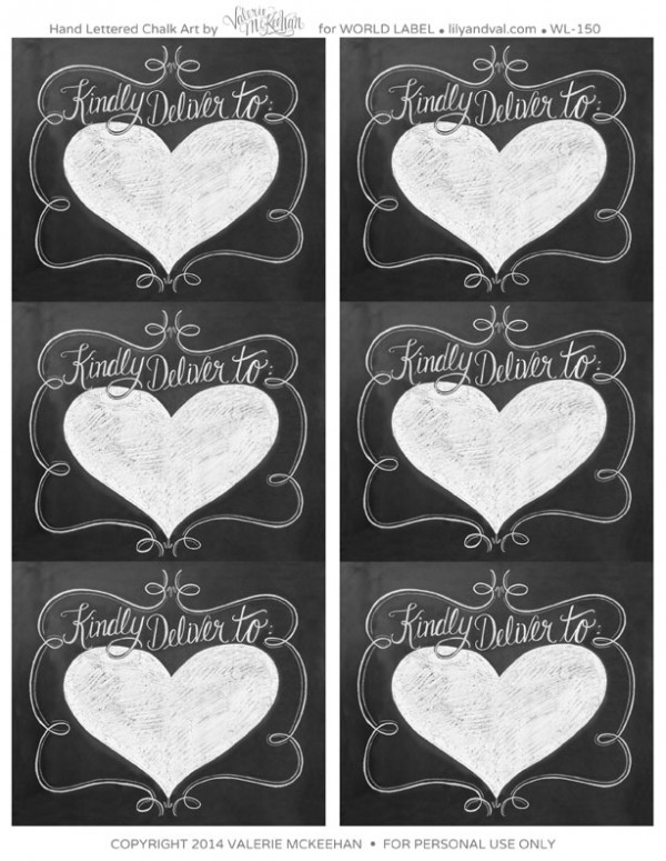 Hand lettered Chalk Art Valentines Day Labels