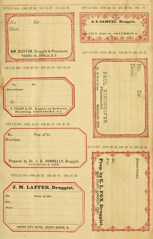 Sample Book Of Vintage Druggists Labels Free Printable Labels Templates Label Design