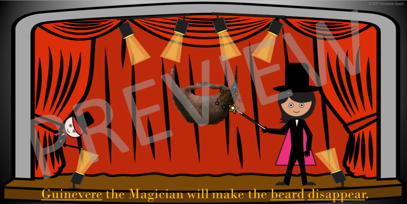 Guinevere the magician making a beard disappear