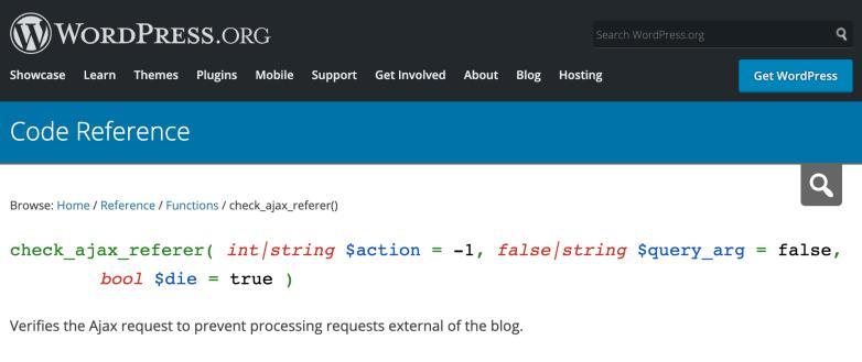 check_ajax_referer screenshot