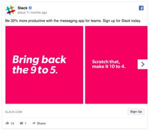 Slack facebook ad example