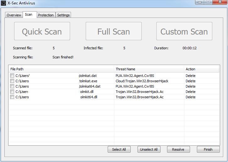 X-Sec Antivirus detected tolmkat