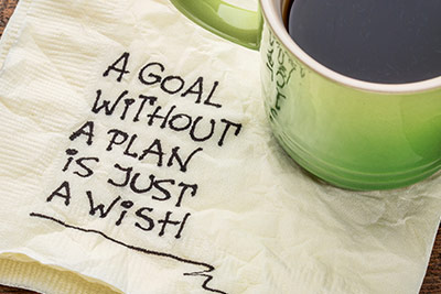 coffee and inspirational saying about setting goals