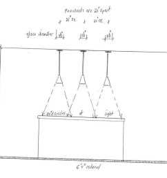 three kitchen pendant lighting diagram jpg [ 1399 x 830 Pixel ]